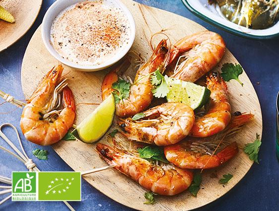Crevettes entières cuites biologiques en promotion