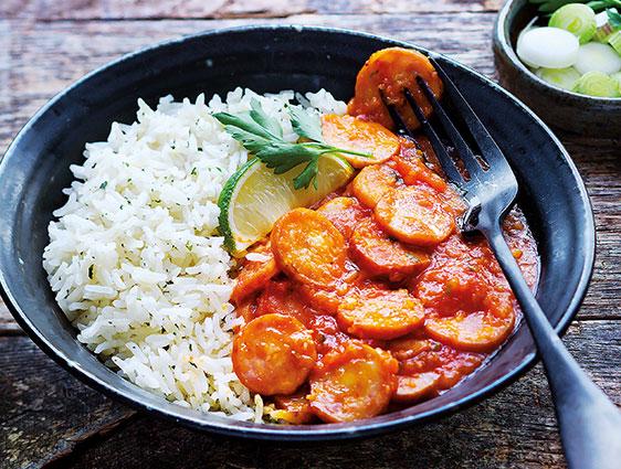 Rougail saucisse et riz basmati à la coriandre en promotion