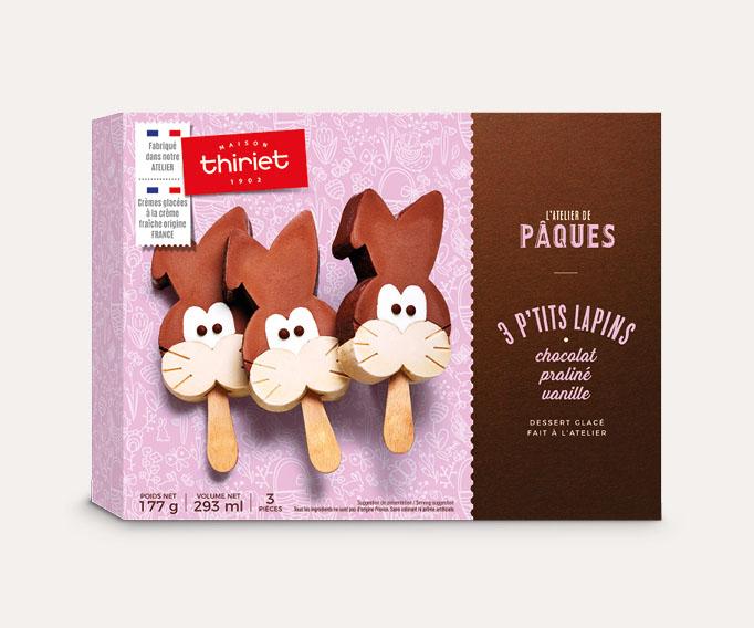 3 P'tits Lapins chocolat - praliné - vanille
