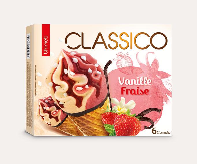 6 Cornets Classico Vanille gousse/Fraise