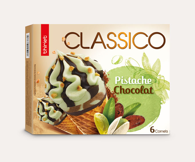 6 Cornets Classico Pistache/Chocolat