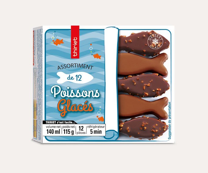 Assortiment de 12 poissons glacés