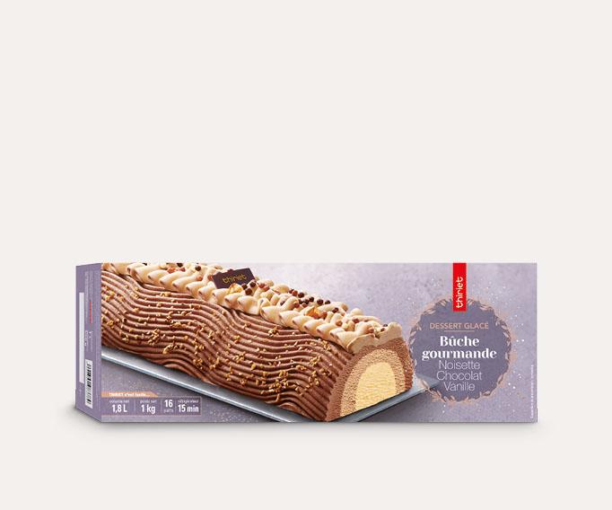 Bûche gourmande noisette/chocolat/vanille