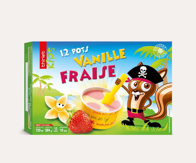 12 Pots Vanille/fraise 'spécial enfants'