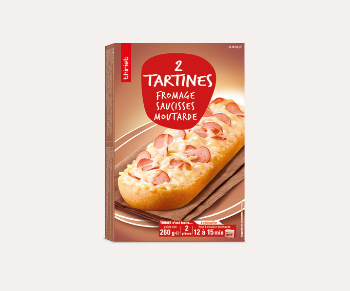 2 Tartines fromage, saucisses, moutarde