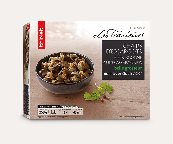 Chairs d'escargots de Bourgogne cuites