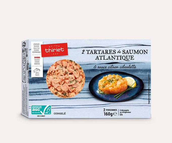 2 tartares de saumon Atlantique et sauce citron ciboulette