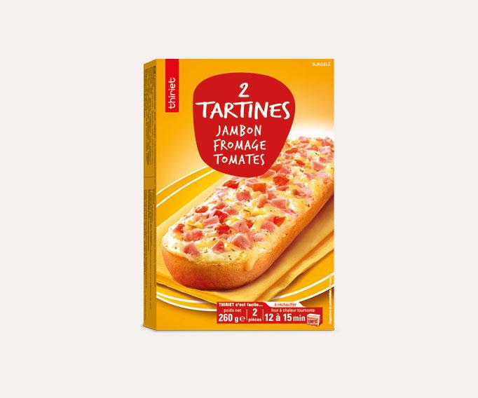 2 Tartines jambon, fromage, tomates