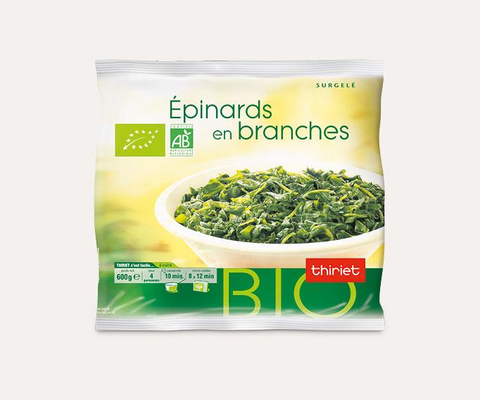 Epinards en branches cuisinés biologiques