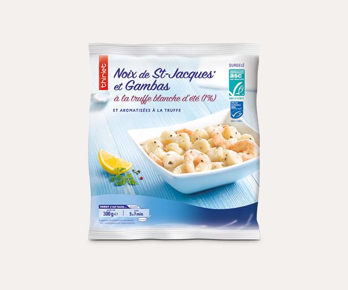 Noix de St-Jacques* gambas à la truffe blanche 1%