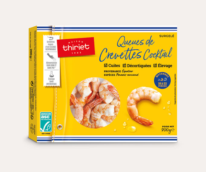 Queues de crevettes cuites décortiquées cocktail