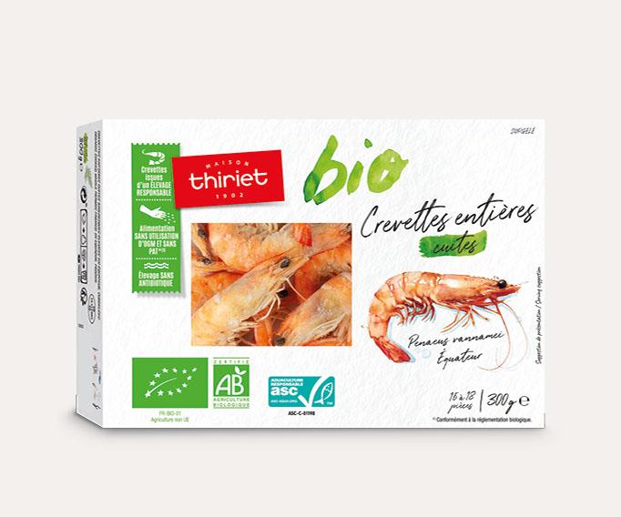 Crevettes entières cuites biologiques Lot de 2 boîtes