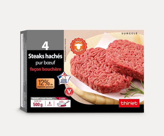 4 Steaks hachés pur boeuf 12% M.G. race Salers