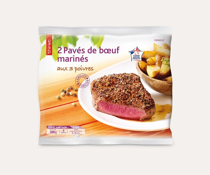 2 Pavés de bœuf marinés aux 3 poivres