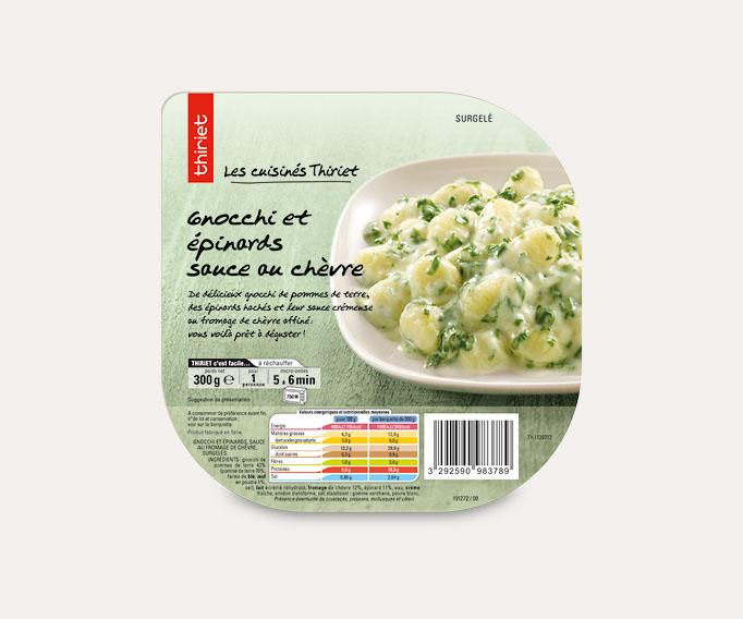 Gnocchi et épinards sauce au chèvre