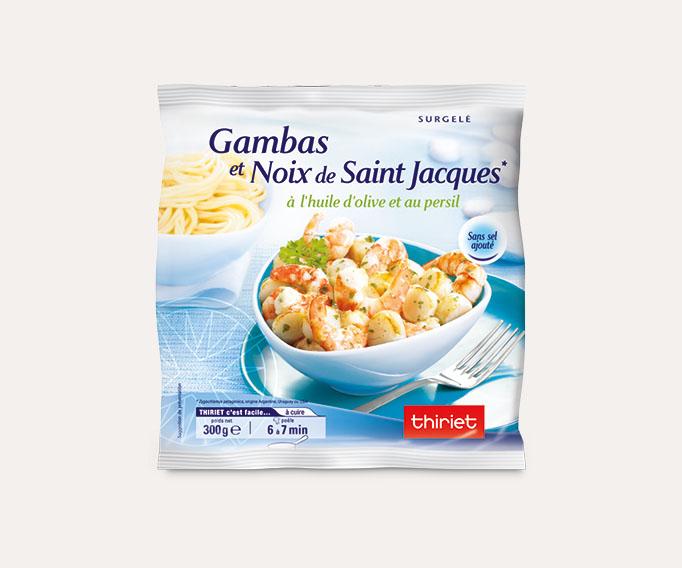 Gambas et noix de St-Jacques* à l'huile d'olive