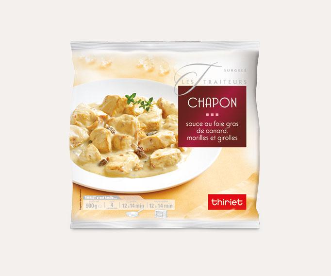 Chapon sauce au foie gras de canard, morilles et girolles