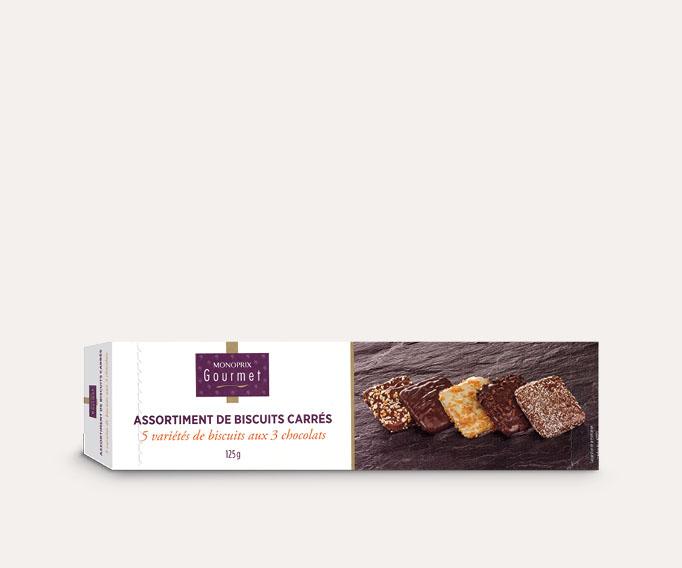 Assortiment de biscuits carrés aux 3 chocolats