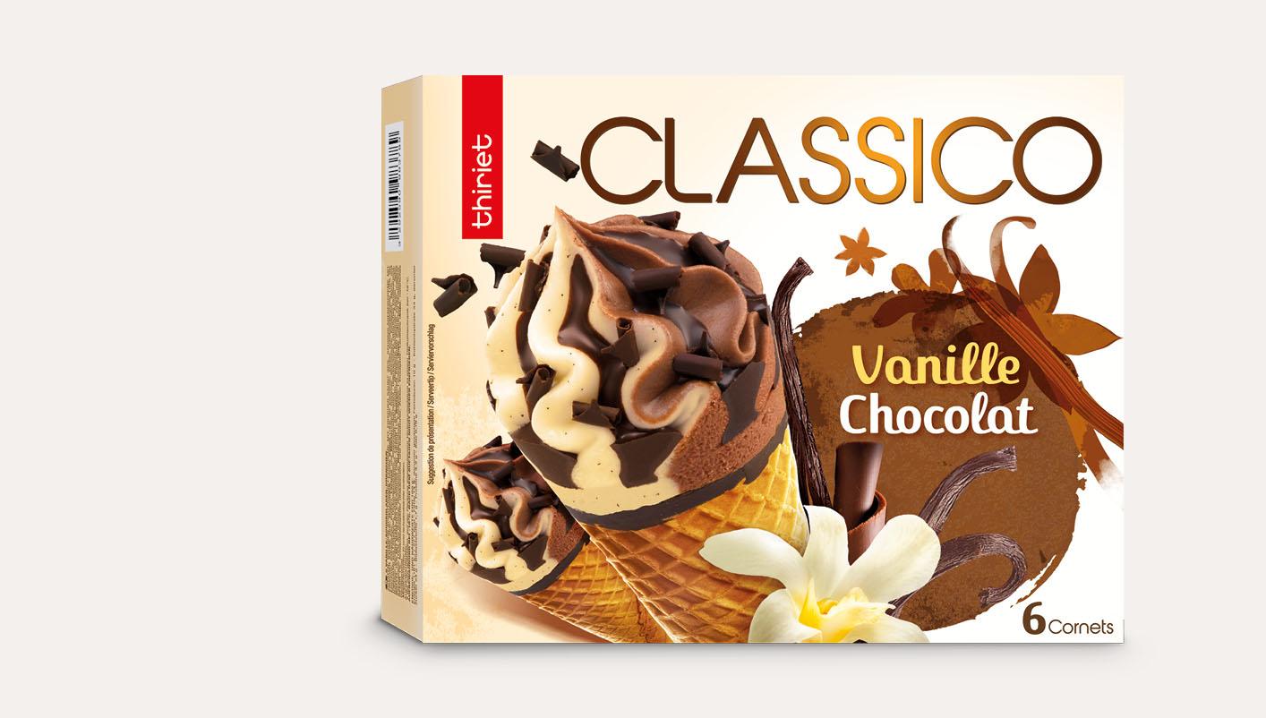 6 Cornets Classico Vanille gousse/Chocolat