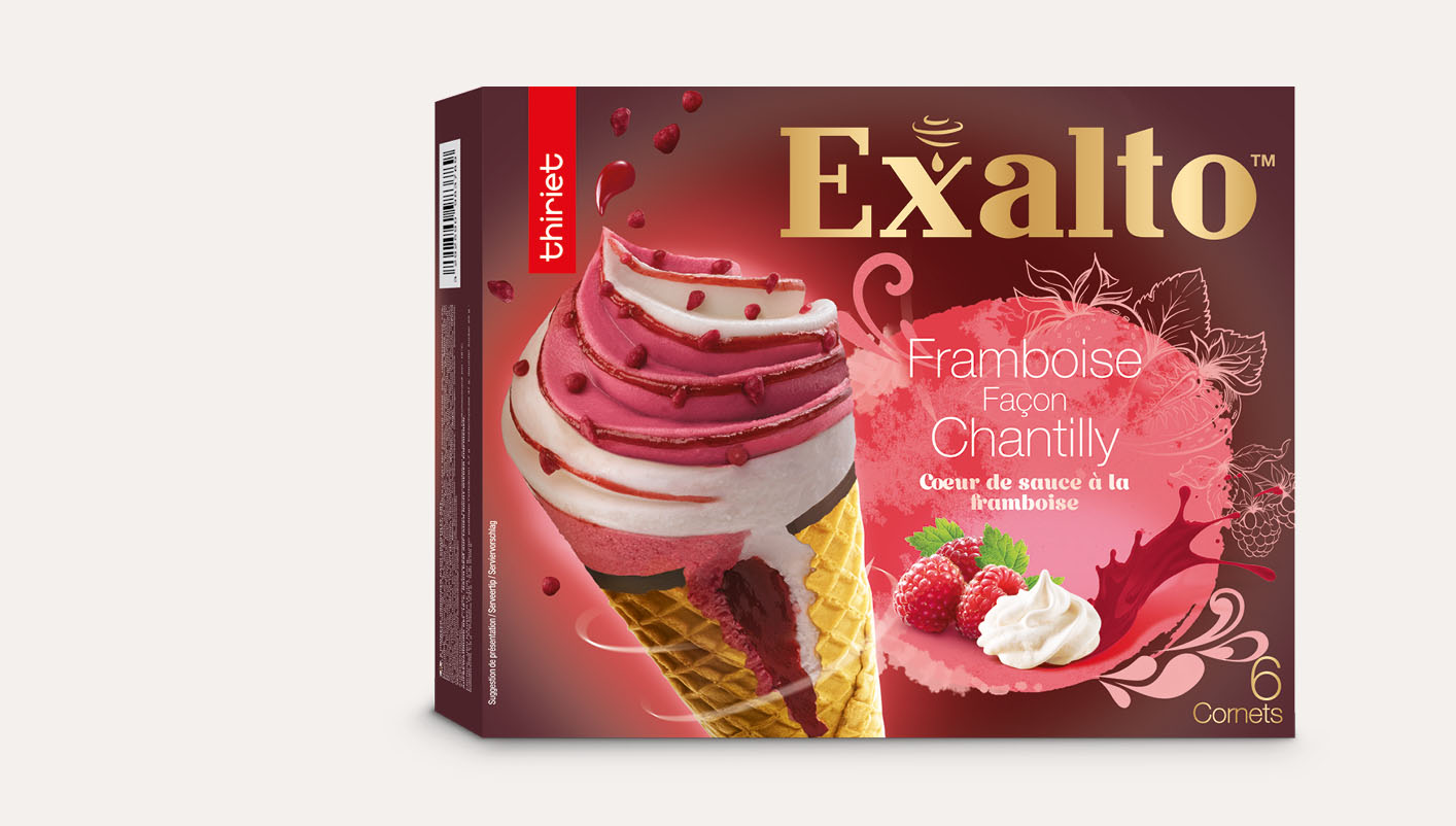 6 Cornets Exalto™ Framboise/Façon chantilly
