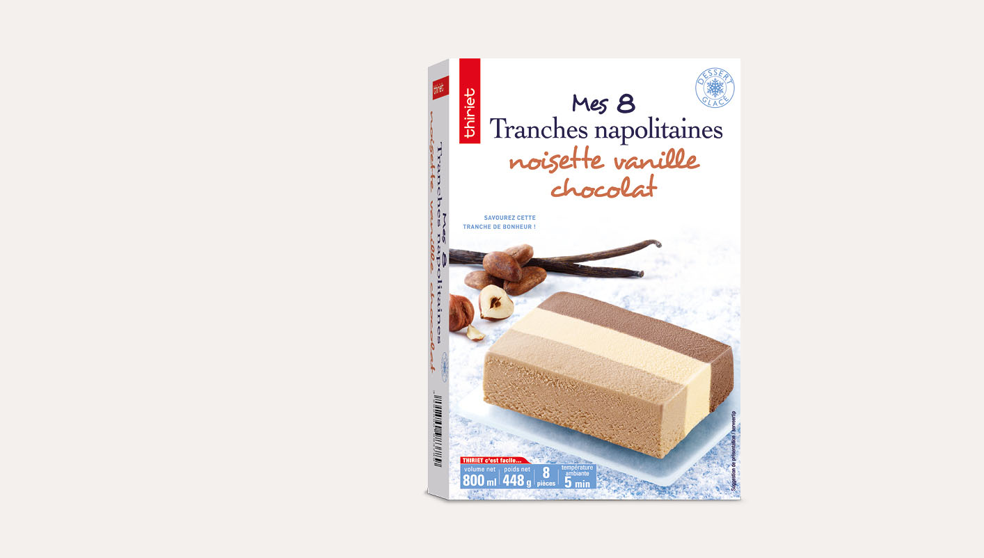 8 Tranches napolitaines noisette vanille chocolat