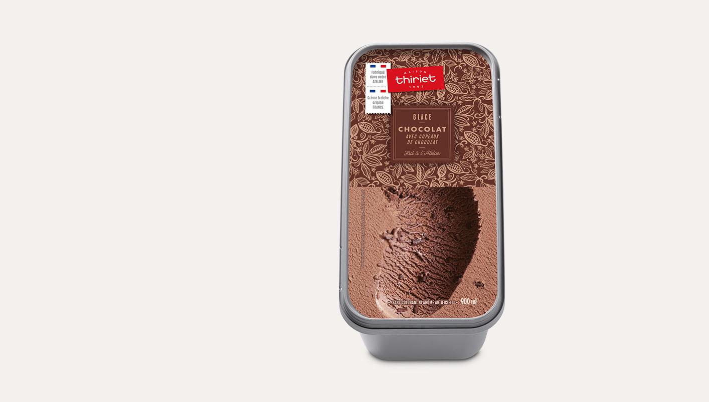 Glace chocolat avec copeaux de chocolat