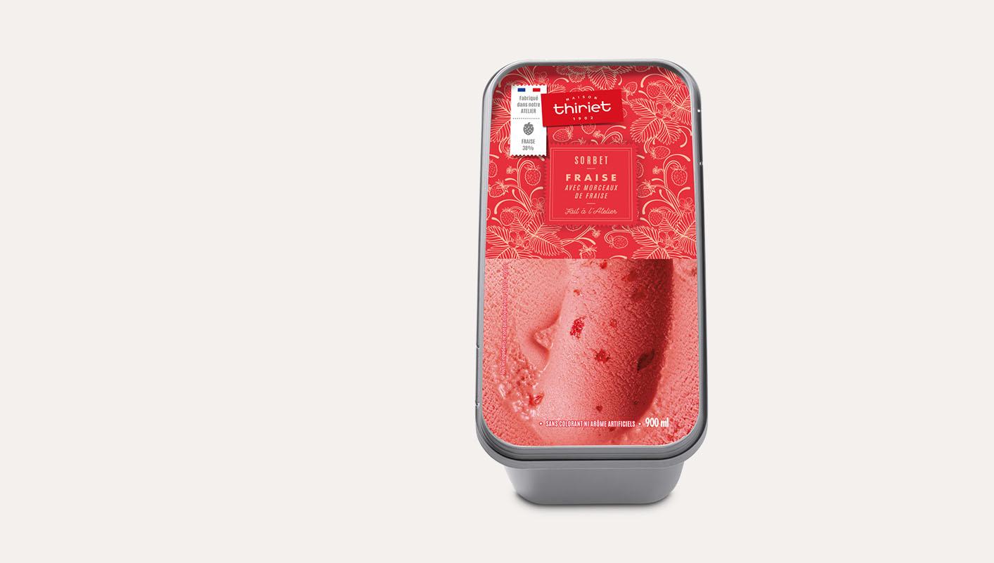 Sorbet fraise avec morceaux de fraise