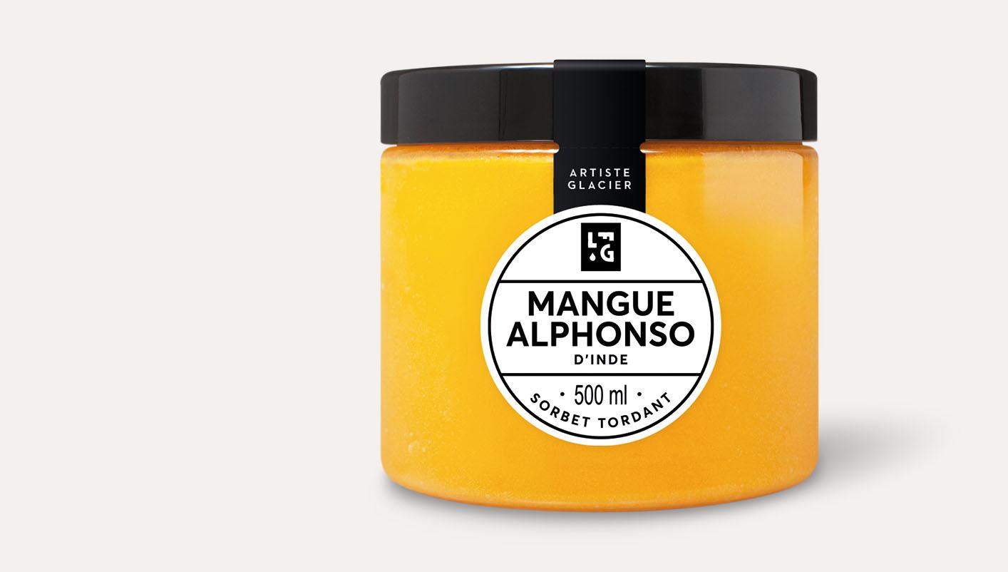 Sorbet plein fruit artisanal mangue Alphonso d'Inde