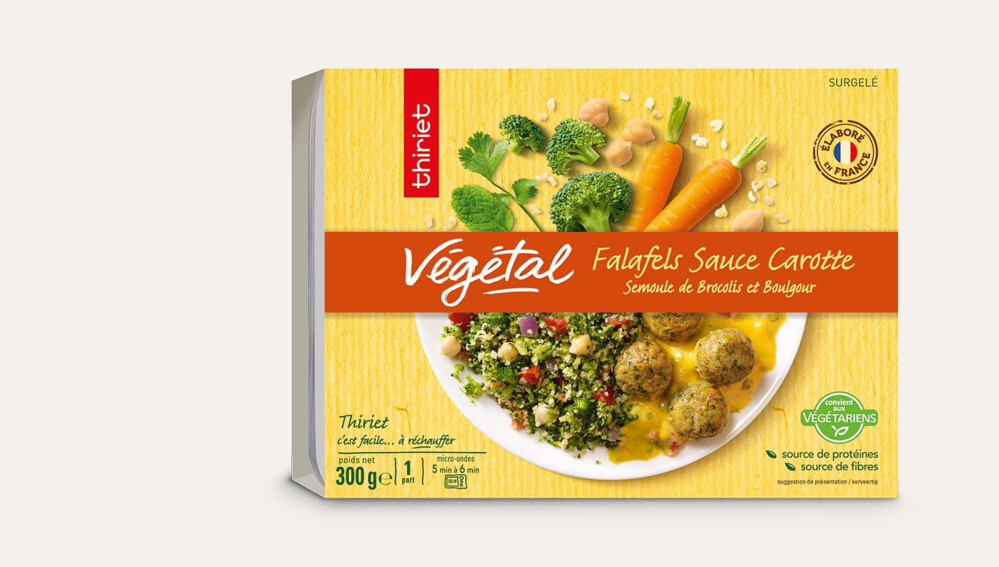 Falafels, sauce carotte, brocolis et boulgour