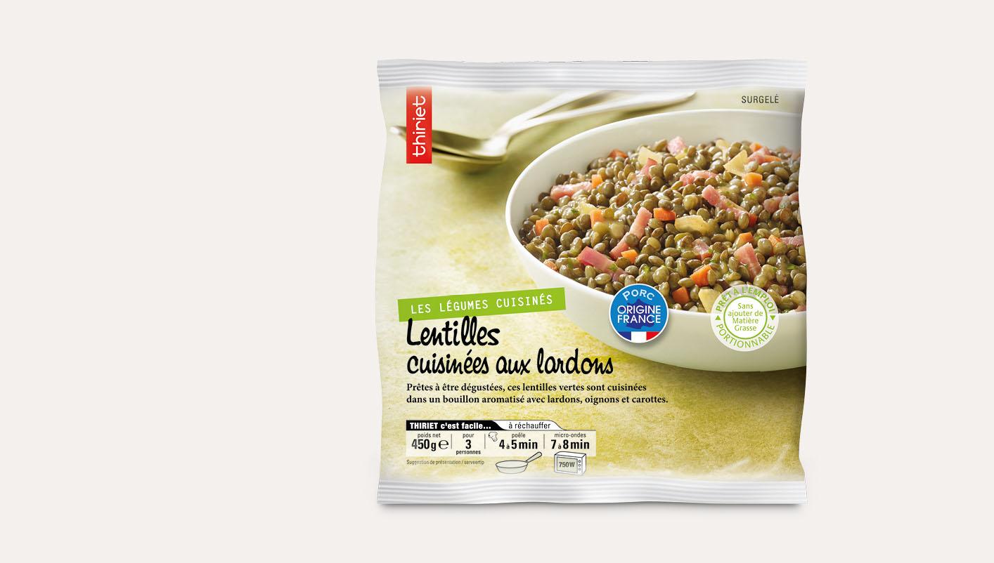 Lentilles cuisinées aux lardons