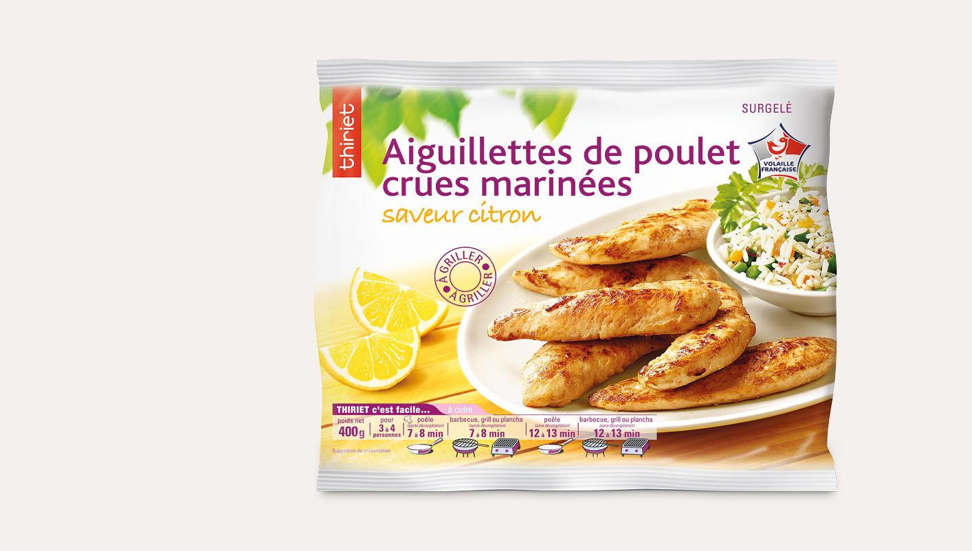 Aiguillettes de poulet crues marinées au citron
