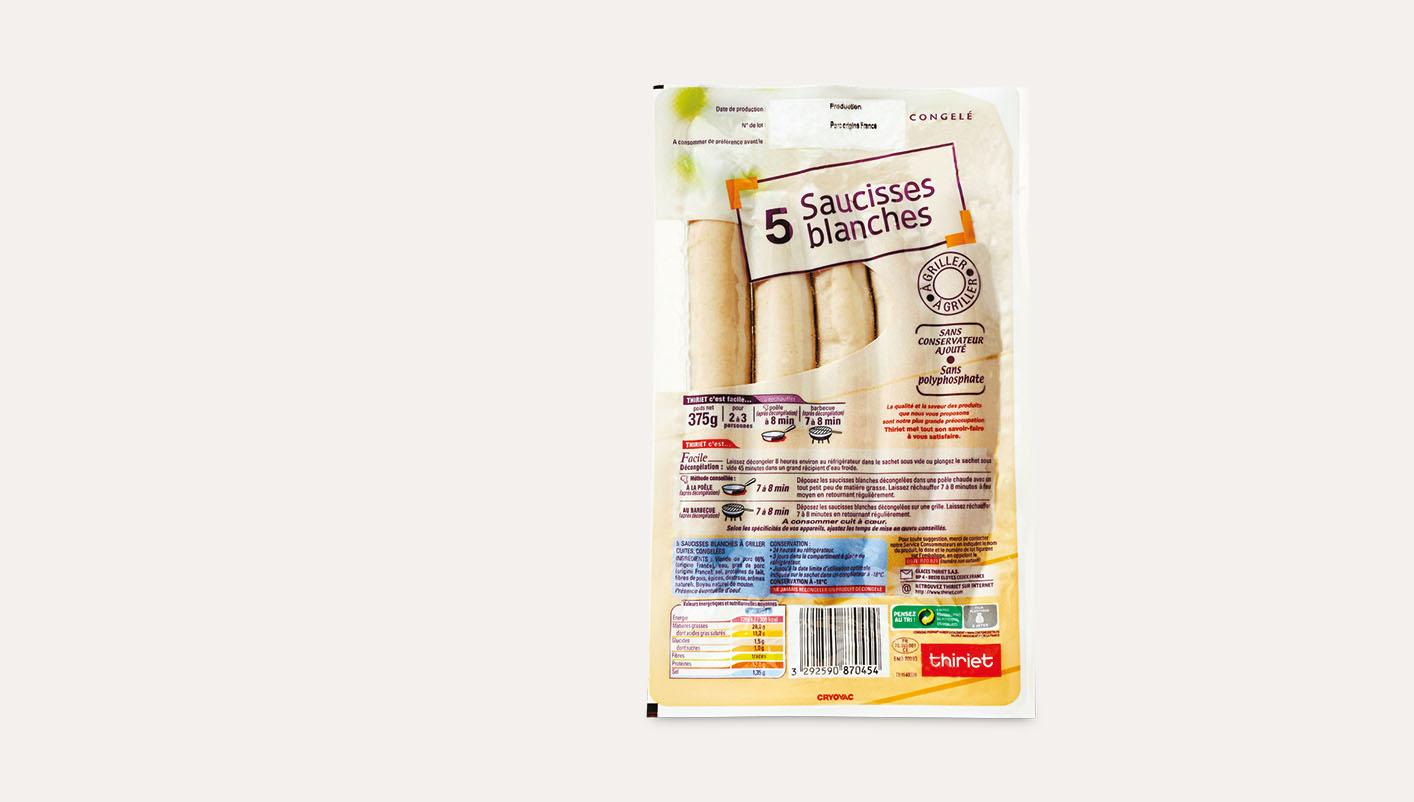 5 Saucisses blanches à griller
