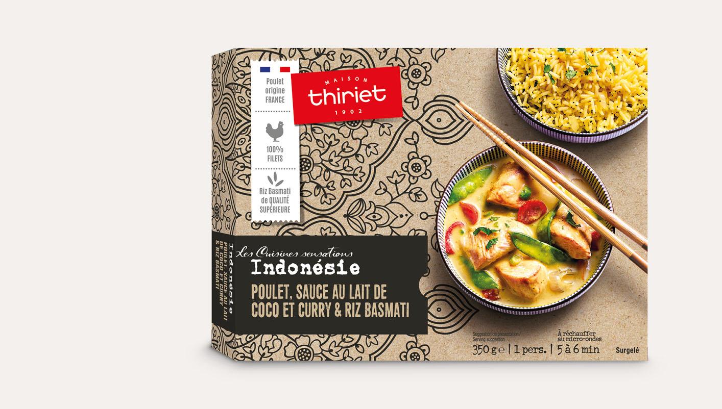 Poulet, sauce au lait de coco et curry et riz basmati