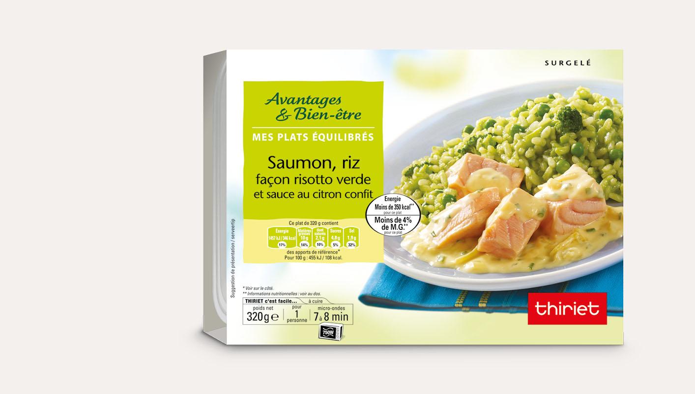 Saumon, riz façon risotto verde et sauce au citron