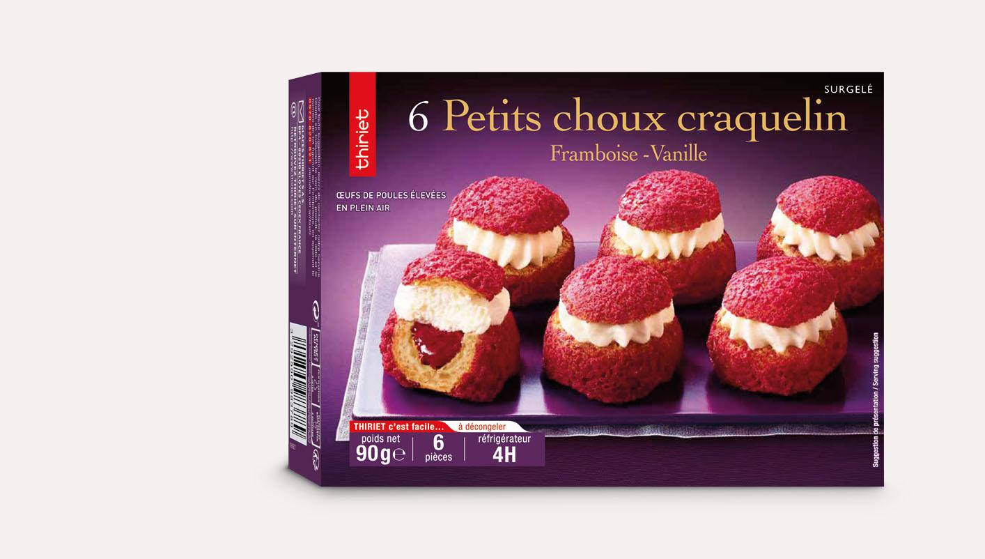 6 Petits choux craquelin framboise - vanille