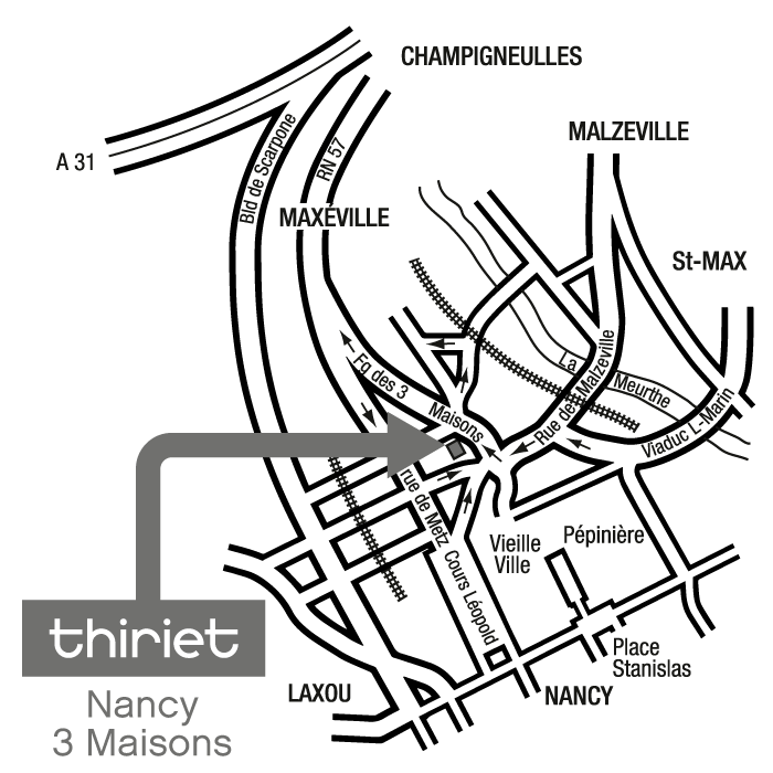 Plan Magasins Thiriet NANCY