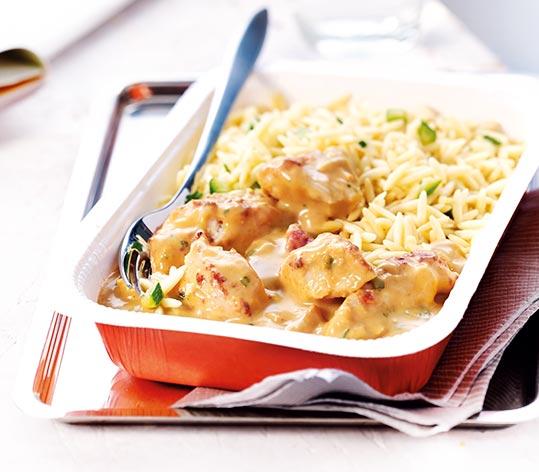 Recettes minutes poulet sauce curry coco et pâtes risoni