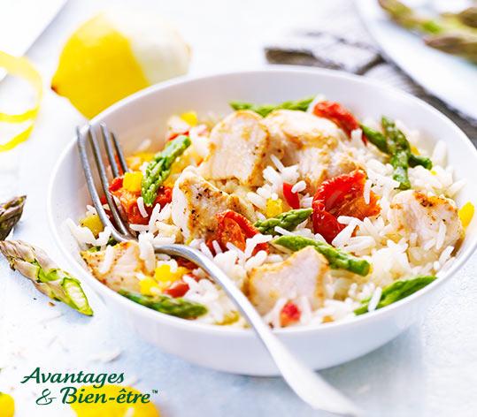 Poulet, riz basmati, tomates et pointes d asperges