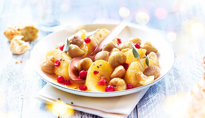 Poêlée cuisinée aux châtaignes, pommes, groseilles
