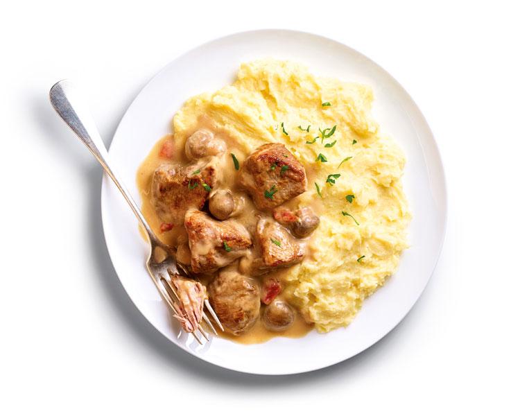Les petits plats de la Maison Thiriet - Sauté de porc, sauce chasseur, purée de pommes de terre