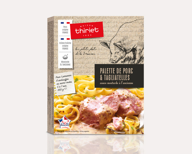 Les petits plats individuels de la Maison Thiriet - Palette de porc, tagliatelles, sauce moutarde à l'ancienne