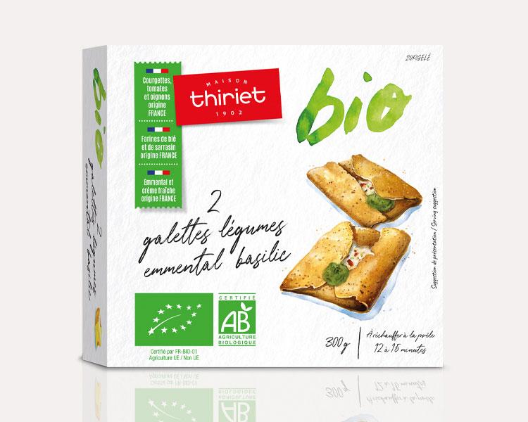 2 galettes légumes bio, emmental et basilic biologiques