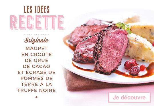 Les idées recettes de la Maison Thiriet : Saint-Jacques snackées au sésame, et tuiles sauce au chocolat