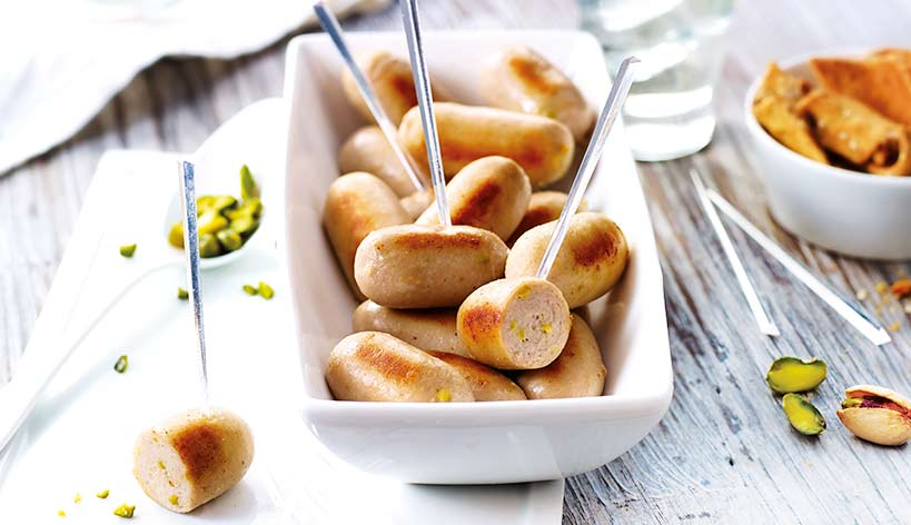 Mini boudins blancs aux éclats de pistache