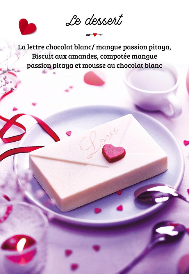 Dessert Lettre chocolat blanc mangue passion pitaya