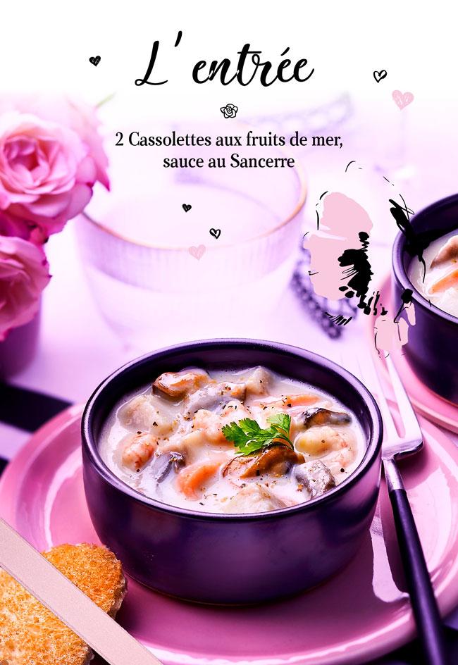 Entrée pour une soirée en amoureux, 2 cassolettes aux fruits de mer sauce au Sancerre pour votre soirée en amoureux