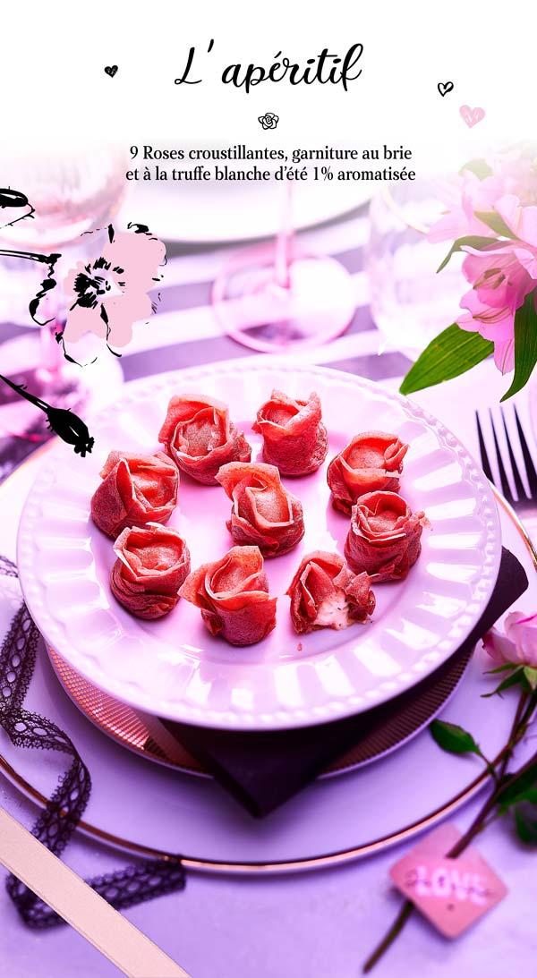 Apéritif pour une soirée en amoureux, 9 roses croustillantes, garniture au brie et à la truffe blanche d'été pour votre repas romantique