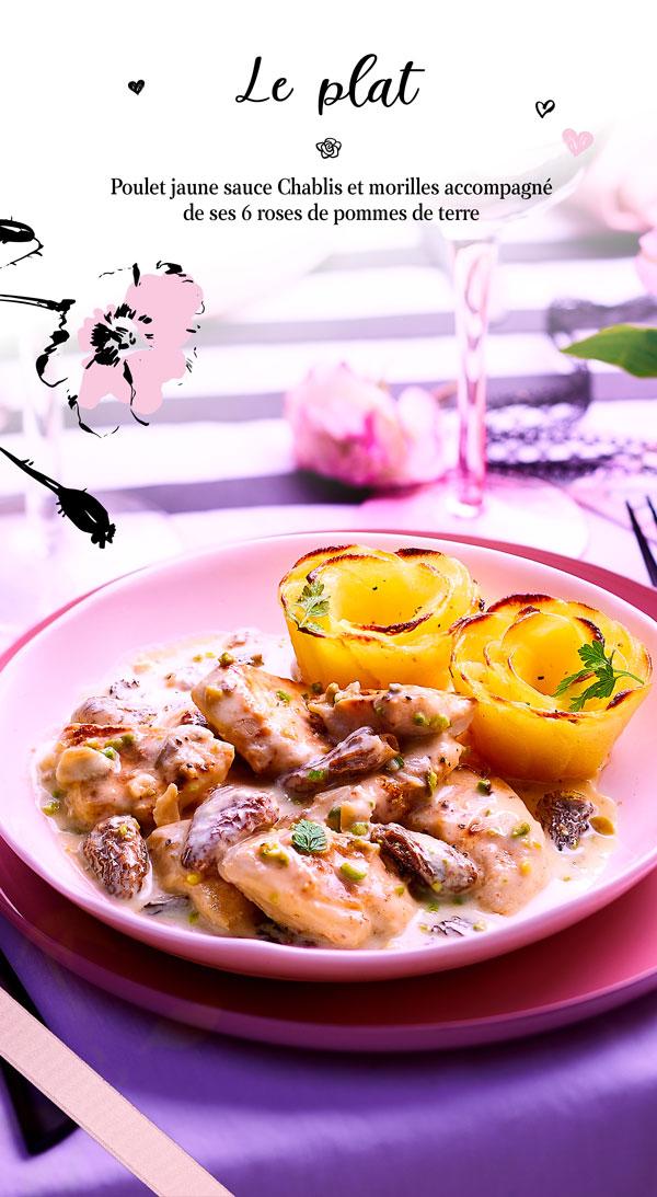 Plat pour une soirée en amoureux, poulet jaune sauce Chablis et morilles accompagné de ses 6 roses de pommes de terre